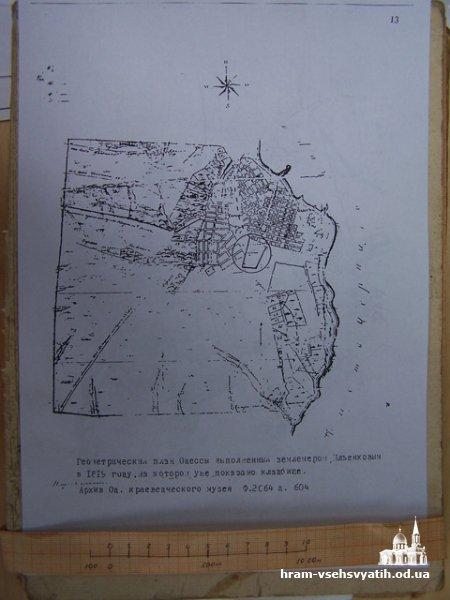 План Одессы в 1819 г. с кладбищем